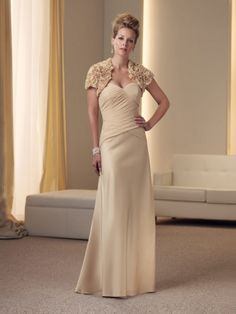 Sheath/Column Floor-length Sweetheart Satin Champagne Mother of the Bride Dress