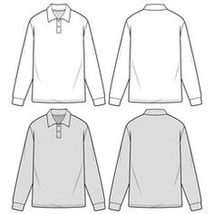 Foto stock, immagini, grafica, vettoriali e video esenti da royalty Flat Drawings, Flat Sketches, Shirt Sketch, Long Sleeve Polo, Stitch Design, Fashion Flats, Shirt Style, Templates, Polo Shirts
