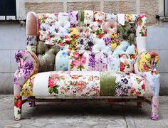 flowered patchwork sofa | SOFA!!! Unfortunately, sold. *tear* Floral Wing Back patchwork sofa ...
