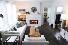 A Little Paint, Plaster, And Resurfacing Of The Fireplace Brought This Living Room Into 2018 Before & After Tour On Design*Sponge Living Etc, Cozy House, Minimalist Design, Home Interior Design, House Tours, Living Room Decor, Living Rooms, Sweet Home, New Homes