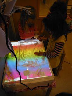 licht tafel zelf gemaakt met led verlichting. transparant dienblad van ikea met zout en regenboog lampionnenpapier eronder en schrijven of tekenen.