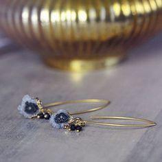Amethyst And Black Diamond Earrings - earrings