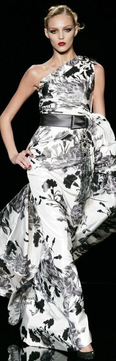 Valentino ~ Black + White Floral Print One Shoulder Gown 2011