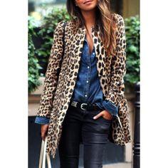 Chic Women's Jewel Neck Leopard Long Sleeve Coat (LEOPARD,XL) in Jackets & Coats | DressLily.com