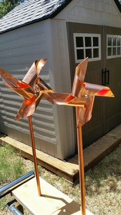Solid copper pinwheel wind spinners