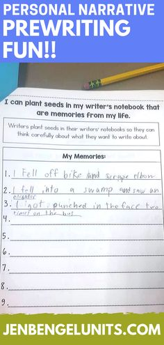 I love personal narrative writing because it's such a great way to get to know students on a personal level.  Kids love writing about themselves, so this is a great unit to use at the beginning of year to build writing stamina!