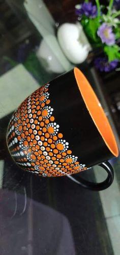 Mandala Canvas, Mandala Artwork, Mandala Dots, Mandala Painting, Mandala Design, Painted Coffee Mugs, Hand Painted Mugs, Painted Cups, Dot Art Painting