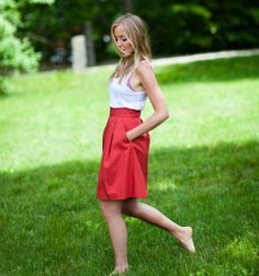 Love the idea of red skirts and my bridesmaids pick a black or white top?