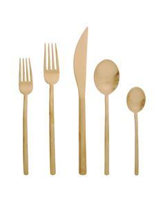 Gold flatware.