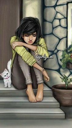 Girly M, Best Friend Drawings, Girly Drawings, Cartoon Girl Images, Cute Cartoon Girl, Sad Girl Drawing, Image Triste, Sarra Art, Lovely Girl Image