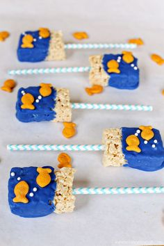 Goldfish Rice Crispy Cereal Treats - perfect for a summer or ocean themed party!