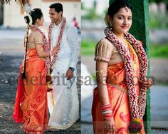Bride in Gold and Pink Shimmer Sari | Saree Blouse Patterns