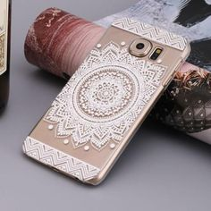 Mandala henna design clear Samsung Galaxy S7 /S7 Edge case featuring a white mandala indie boho chic circle silicone jelly fashion phone cover - US seller, fast shipping.