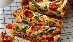 Asparagus and Tomato Frittata SliceThis colourful frittata is packed full of healthy vegetables and is super-simple to make. Enjoy for […] Pizza Recipes, Veggie Recipes, Vegetarian Recipes, Dinner Recipes, Cooking Recipes, Healthy Recipes, Healthy Pizza, Fun Cooking, Healthy Dinners