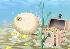 Generiert aus dem Text: Unterwasser. Kugelfisch. Quallen. Gelbe Fische. Schatzkiste rechts. Koralle hinten Kugel, Jellyfish, Pisces, Pictures