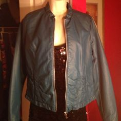 Darling leather jacket! Dark turquoise fitted leather jacket, full zip- cute ruffle bottom and collar- size small! Jackets & Coats