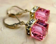 Pink Earrings Crystal Drop Swarovski Cube Rose Gold by fineheart Pink Earrings, Crystal Earrings, Dangle Earrings, Square Earrings, Sapphire Earrings, Bijou Box, Bijoux Diy, Bridesmaid Earrings, Bridesmaids