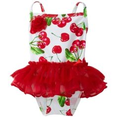 Flapdoodles Baby-girls Infant Tutu Pretty Cherry Print One Piece Swim Suit $30.00