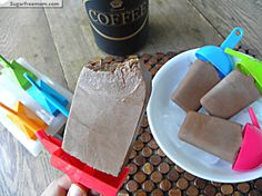 Low Carb Mocha Protein Popsicles: No Sugar Added -  Just perfect for an afternoon when you need a pick- me -up to get through the day, don't have time or feel like drinking coffee and you want a snack, NOW you can have the best of both worlds!