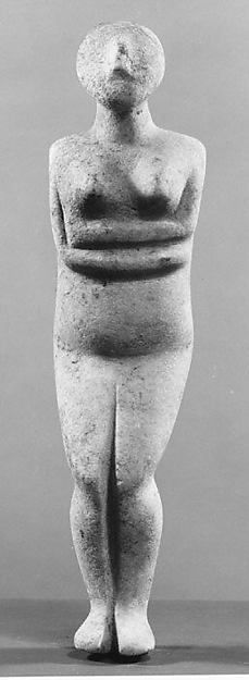 Marble female figure, Early Cycladic II, 2700–2600 BCE, Met Museum