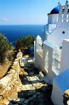 Church of Panagia Poulati and paved alley----SIFNOS island