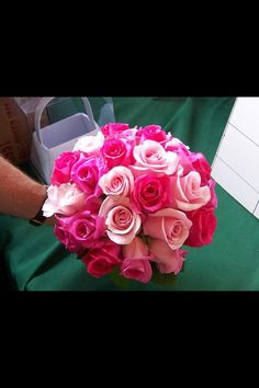 Bright pink colourful wedding bouquet