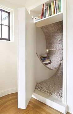 Siol Studios' woolly secret room behind a pivoting bookshelf at the San Francisco Decorator Showcase    I really love this idea!!!  Maybe for my walk in closet/sanctuary when we remodel???