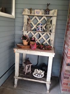 potting bench on patio