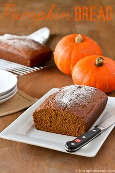 Classic Pumpkin Bread Recipe -- this light and moist pumpkin bread is made with Silk Pure Coconut Original coconut milk, but doesn't taste a bit like coconut! #SilkHoliday
