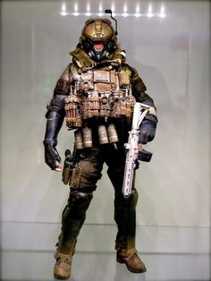 Here is an amazing Titanfall-inspired pilot by the very talented Sebastien Bontemps . Military Action Figures, Custom Action Figures, Titanfall Cosplay, Toy Soldiers, Small Soldiers, Concept Clothing, Military Drawings, Gi Joe, Futuristic Armour