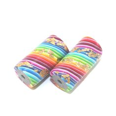 Tube beads Polymer Clay Colorful beads Jewelry by ShuliDesigns