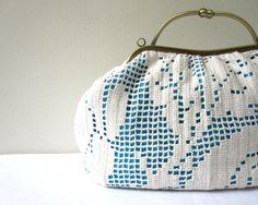 upcycled doily purse. I have the perfect old lace tablecloth to use for this.