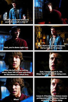 """[gifset] """"If you had just let me go in there, I coulda ended all this."""" """"Sam, the only thing you would have ended was your life."""" """"You don't know that."""" 1x22 Salvation #SPN #Dean #Sam"""