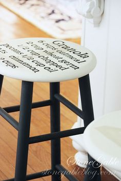 StoneGable: ALL ABOUT THE DETAILS KITCHEN HOME TOUR ... refinish that old stool with a short recipe stenciled on seat!