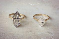 Herkimer diamantring gouden vulling Ring Boho Wedding door lumafina