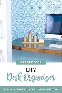 Learn how to make a DIY desk organizer in a beautiful painted brass finish. #DeskOrganizer #DIY #OfficeOrganization Desk Organization Diy, Diy Desk, Organizing Ideas, Dining Table Makeover, Oak Dining Table, Decorating Your Home, Diy Home Decor, Decorating Ideas, Diy Projects Desk