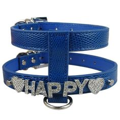 Personalized Snakeskin Dog Harness Free Name with Rhinestone Letters