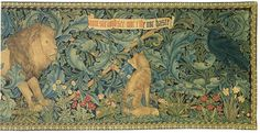 """Forest Tapestry was designed by Morris (flowers and background), architect and friend P.Webb (animals), J.H.Dearle (floral details). It was woven out of wool and silk in Merton Abbey workshops. Dearle, created natural dyes. Inscription across original: """"The Beasts that be in woodland waste, now sit and see nor ride nor haste"""" later appeared as """"The Lion"""" in Morris's Poems by the Way (1891).  'Forest' design became most popular of Morris and Co. Original is in Victoria and Albert Museum."""