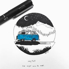 106/365 - The night will be ours // #picoftheday #instaart #art #artgram #artwork #painting #watercolor #watercolour #illustration #vw #campervan #travel #adventure #explore #gooutside #outdoors #modern #minimalism #style #graphicdesign #uk #oxford #instagood #instadaily #freelance #creative #sketchbook