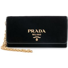 Prada logo clutch ($720) ❤ liked on Polyvore featuring bags, handbags, clutches, black, prada clutches, prada purses, prada pochette, chain-strap handbags and chain strap purse
