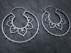 Earrings | Sasha Bell. 'Double Flower Hoops'.  Sterling silver from etsy