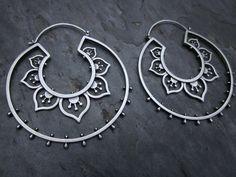 Earrings | Sasha Bell. 'Double Flower Hoops'. Sterling silver