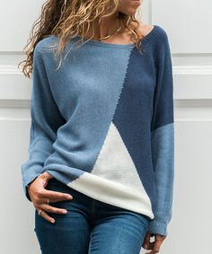 Love this Blue & White Color-Block Boatneck Sweater - Women on Cozy Sweaters, Pullover Sweaters, Sweaters For Women, Cardigans, Indian Party Wear, Indian Wear, Formal Dress Stores, Pull Bleu, Indigo Colour