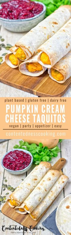 These Pumpkin Vegan Cream Cheese Taquitos are an amazing fall inspired version of our favorite Mexican snacks. With just 6 ingredients and 2 easy steps - of course vegan and gluten free as always.
