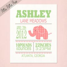 Personalized Girl's Birth Announcement Custom by pitterpatterpress