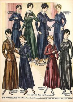 "These garments were from the period between The silhouettes for women had raised waist, lamp shade tunic and the coats with slender ""hobble skirts"". Edwardian Clothing, Edwardian Fashion, Vintage Fashion, Medieval Fashion, Vintage Dress Patterns, Vintage Dresses, Vintage Outfits, Vintage Hats, 1914 Fashion"