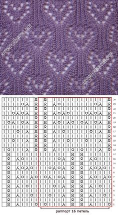Knitting Patterns Stitches Pattern scheme: In the scheme are shown both the front and back side rows. Lace Knitting Patterns, Knitting Stiches, Knitting Charts, Lace Patterns, Stitch Patterns, Knitting Projects, Couture, Knit Baby Patterns, How To Knit