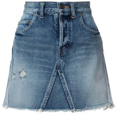 Saint Laurent Denim Mini Skirt featuring polyvore, women's fashion, clothing, skirts, mini skirts, bottoms, all bottoms, kirna zabete, button-front denim skirts, distressed denim skirt, button skirt, zipper skirt and short blue skirt