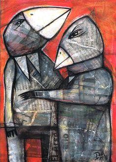 Dan Casado ~ Crows, 2012 (acrylic, collage)