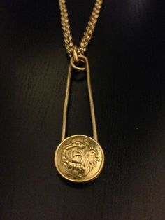Image of Vintage Gianni Versace Gold Simply Safety Pin Medusa Head Logo Chain
